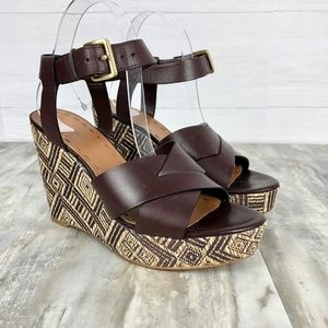 Tahari Brown Leather Wedge Sandals Size 9.5